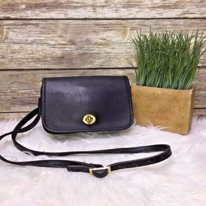 Vintage Black Leather Small Crossbody Purse